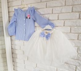 Komplet elegancki koszula z falbankami i tiulowa spódniczka 3