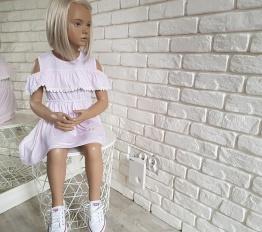 Sukienka BOHO stripes róż