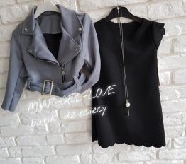 Sukienka zamszowa z wisiorem czarna