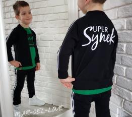 Zestaw Super Synek czarny ocieplane spodnie