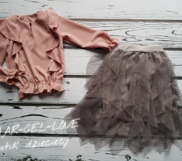 Bluzka elegancka falbany pudrowy róż