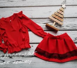 Bluzka elegancka falbany czerwień