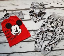 Komplet Mickey z chustą czerwony