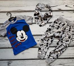 Komplet Mickey z chustą niebieski