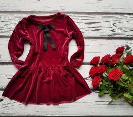 Sukienka welurowa burgund