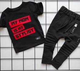 T-shirt my mom czerń + czerwień