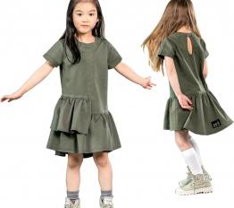 MashMnie camouflage sukienka asymetryczna z falbanką khaki