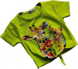 T-Shirt Giraffe zielony neon