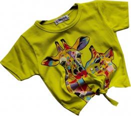 T-Shirt Giraffe żółty neon