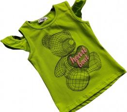 T-Shirt geometryczny miś limonka