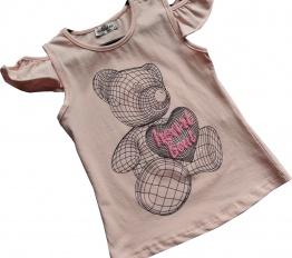 T-Shirt geometryczny miś róż