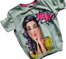 T-Shirt WOW mięta