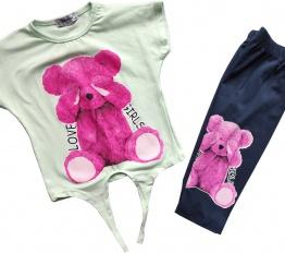 Komplet Pink Bear mięta