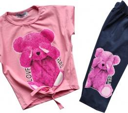 Komplet Pink Bear blady róż