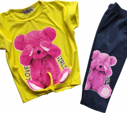Komplet Pink Bear żółty