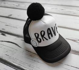 POM POM CAP BRAVE biały + czarny pompon