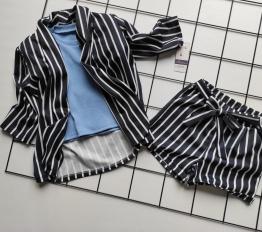 Garnitur stripes navy blue