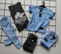 T-shirt Despacito dekatyzowany błękitny