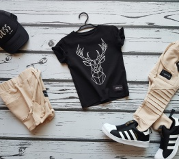 T-shirt  geometryczny jeleń czeń