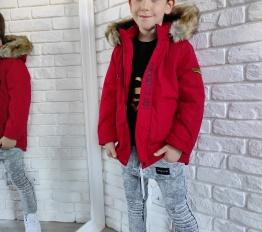 Zimowa parka chłopięca czerwona