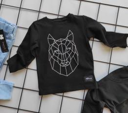 Bluzka geometryczny wilk czerń mikoo
