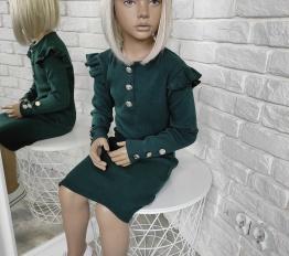 Sukienka prążek falbanki i guziczki