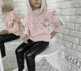 Sweterek falbany puder