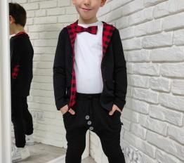 Marynarka Style Kids czerń+ krata