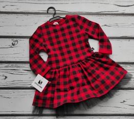Sukienka Czerwona Krata z tiulem Style Kids