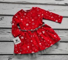 Sukienka w gwiazdy z tiulem i paskiem Style Kids