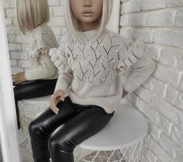 Sweterek falbany beżowy