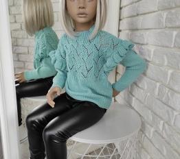 Sweterek falbany miętowy