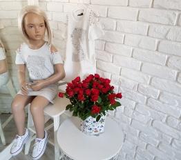 Sukienka letnia S perełki szara